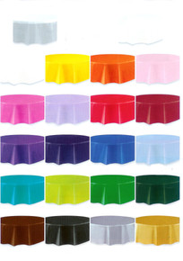"""84"""" Round Plastic Party Table Cover - Choose Your Color"""