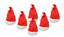Set of 6 Christmas Santa Hats Traditional Saint Nick Holiday Costume Decoration