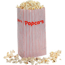 Red and White Striped Paper Popcorn Bags - 24 Count
