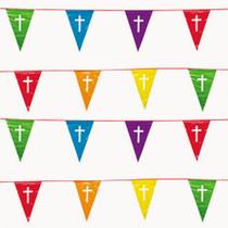 Religious Pennant Banner 100 Ft. White Cross 48 Multi Color Flag Celebration