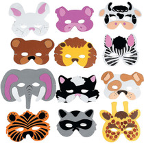 Foam Animal Masks - 12 Count
