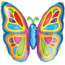 """XL 25"""" Bright Colors Butterfly Super Shape Mylar Foil Balloon Party Decoration"""