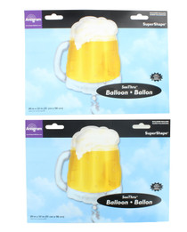 "2 XL 23"" Frosty Beer Mug Balloon Super Shape Mylar See-Thru Party Decoration"