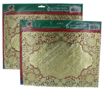 "Lot of 12 Gold Rectangular Doilies Lace Paper 10"" x 14"""