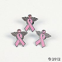 Lot of 12 Breast Cancer Awareness Metal Angel Pin Pink 24/8027