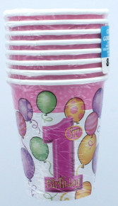 Pink Girls 1st Birthday 9oz Paper Cups 8 Counts Party Supplies