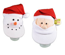 Set of 2 Plush Santa Claus and Snowman Stocking Caps Christmas Novelty Fun Hats