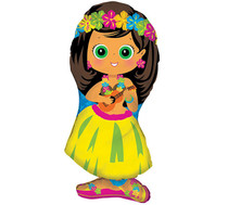 "XL 34"" Hula Girl Super Shape Mylar Foil Balloon Hawaiian Luau Party"