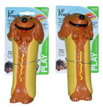 Lot of 2 Smartpaw Lil' Frank Dog Toys With Squeaker 446