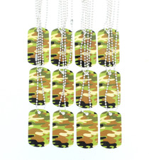 Lot of 12 Metal Camouflage Dog Tag Necklaces Army Party Favors