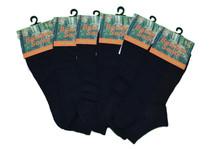 Natural Black Bamboo No Show Men's Ankle Socks - 6 Pack