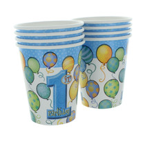 Boys 1st Birthday Paper Cups Party Supplies 9oz Lot of 8