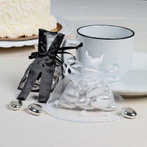 Bride And Groom Satin And Tulle Favor Bags - 24 Count