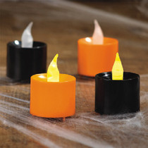 Plastic Orange and Black Battery Operated Votive Candles Halloween Party (12)
