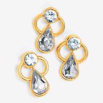 Lot of 12 Austrian Crystal Angel Clutch Pins Goldtone