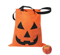 Lot of 2 Halloween Pumpkin Trick or Treat Tote Bags