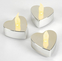 Lot of 12 Battery Operated Silver Heart Metallic Tealights Candles