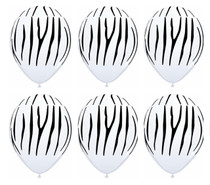 "Zebra Print Latex Balloons Jungle Safari Animal Party 11"" Lot of 6"