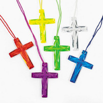 Lot of 48 Plastic Bright Color Crystal Cross Necklaces Religious Party Favors