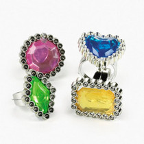72 Colorful Rhinestone Rings Girl Party Favors