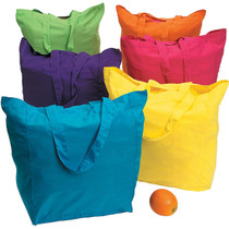 Large Neon Cotton Tote Bags - 12 Count
