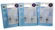 Lot of 6 Halogen Light Bulbs 50 Watts 12V T4-JC