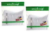 White Plastic Forks Party Utensils Tableware Lot of 96
