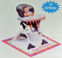 Paper Art Girl Pink 1st Birthday High Chair Party Decoration Kit