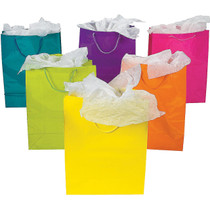 Large Neon Paper Gift Bags with Rope Cord Handle - 12 Count