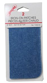 2 Iron On Patches Light Blue Denim Jean Repair #1306-02