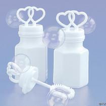 72 White Double Heart Wedding Bubbles Bridal Favors