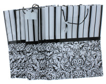 Lot of 12 Paper Large Black and White Wedding Bridal Party Gift Bags