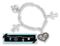 My Guardian Angel and Heart Charm Silver Bracelet