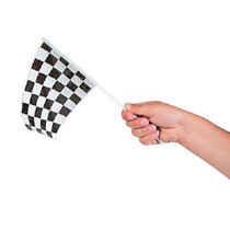 Plastic Black and White Checkered Flags - 72 Count