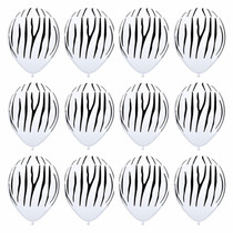 "Zebra Print Latex Balloons Jungle Safari Animal Party 11"" Lot of 12"