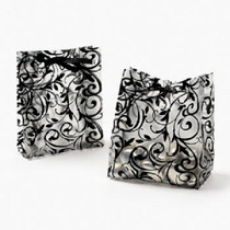 Lot of 48 Plastic Frosted Black & White Wedding Favor Bags
