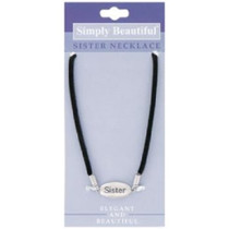 Simply Beautiful Sister Necklace Silver With Black Band