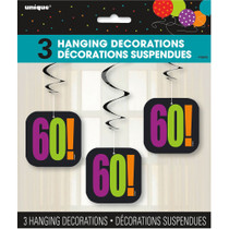 60th Birthday Hanging Party Decorations Set of 3
