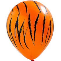 "12 Tiger Print 11"" Latex Balloons Qualatex Black & Orange Jungle Safari Party"