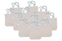 Lot of 12 Mini Natural Canvas Tote Bags DYO Craft Favors #14/49