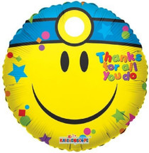 """Smiley Doctor Mylar Foil Balloon """"Thanks For All You Do""""  18"""" Lot of 2"""