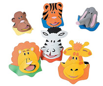 Lot of 12 Foam Zoo Animals Sun Visors Party Hat Favors