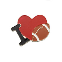 Set of 12 I Love Football Metal Pins Favors