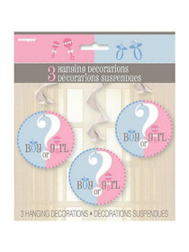 "Gender Reveal Hanging Party Decorations ""Boy or Girl?"" Lot of 3"