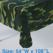 "Plastic Camouflage 54"" x 108"" Camo Tablecover Military Army Hunting Party"