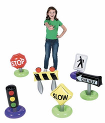 Inflatable Traffic Signs Kids Toys 6pcs