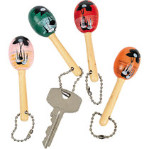 Mini Wooden Maraca Key Chains - 12 Pack