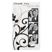 Photo Booth Thank You Cards Lot of 24 Black & White Damask Wedding Bridal Shower