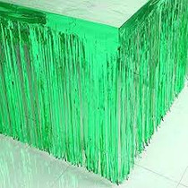 "Green Metallic Foil Fringe Table Skirt 144"" x 30"" Party Decoration"