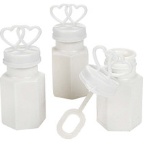 Plastic Two Hearts Bubble Bottles - 48 Count